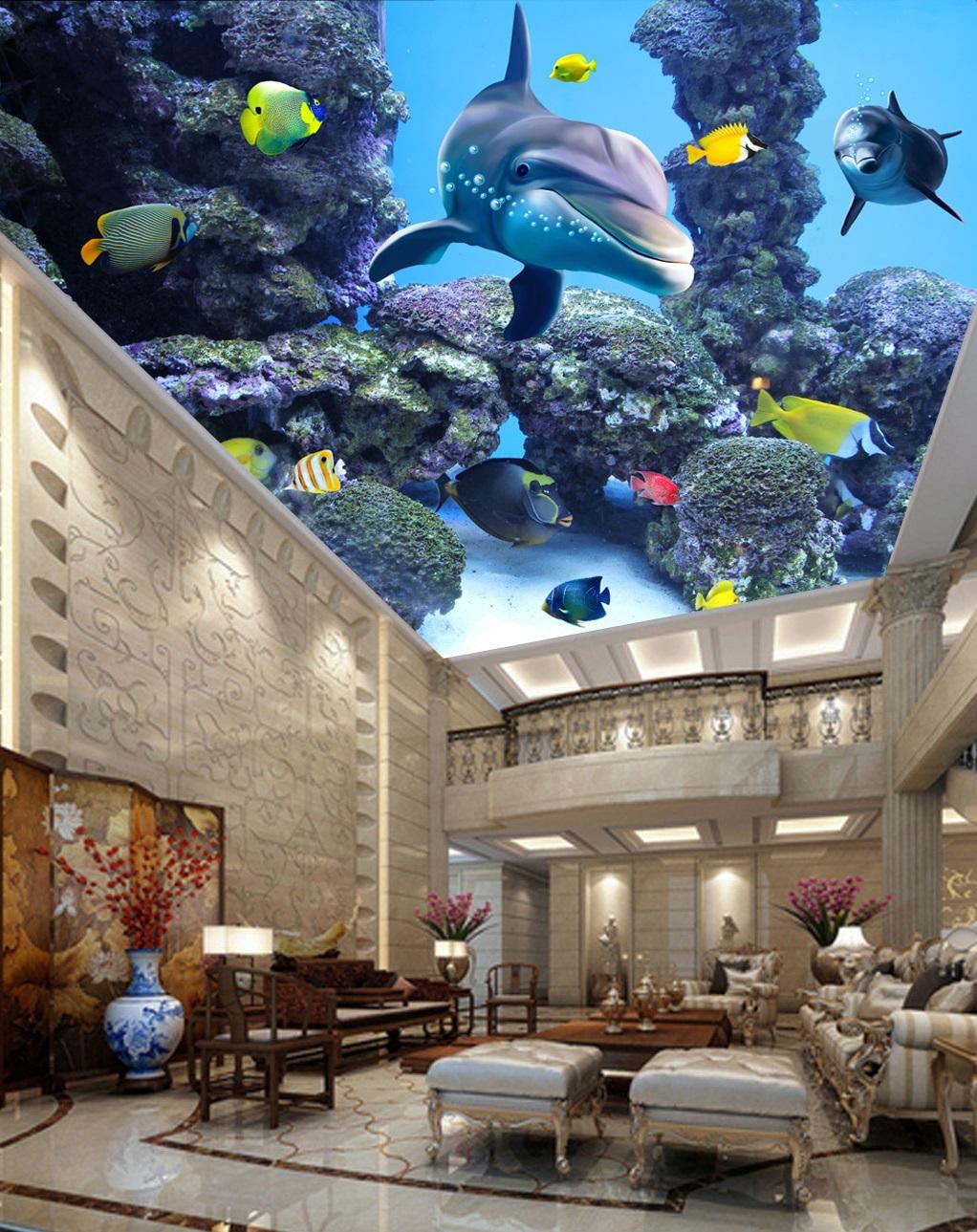 Trần 3d phong cảnh dưới đáy biển cá heo
