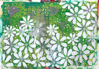 overview of flowers on Jenny's garden of daisies art journal page step-by-step tutorial