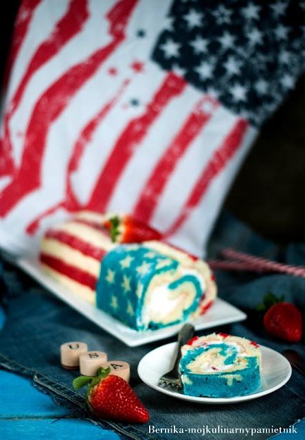 rolada, rolada biszkoptowa, flaga, USA, bernika, ciasto, kulinarny pamietnik, ciasto flaga