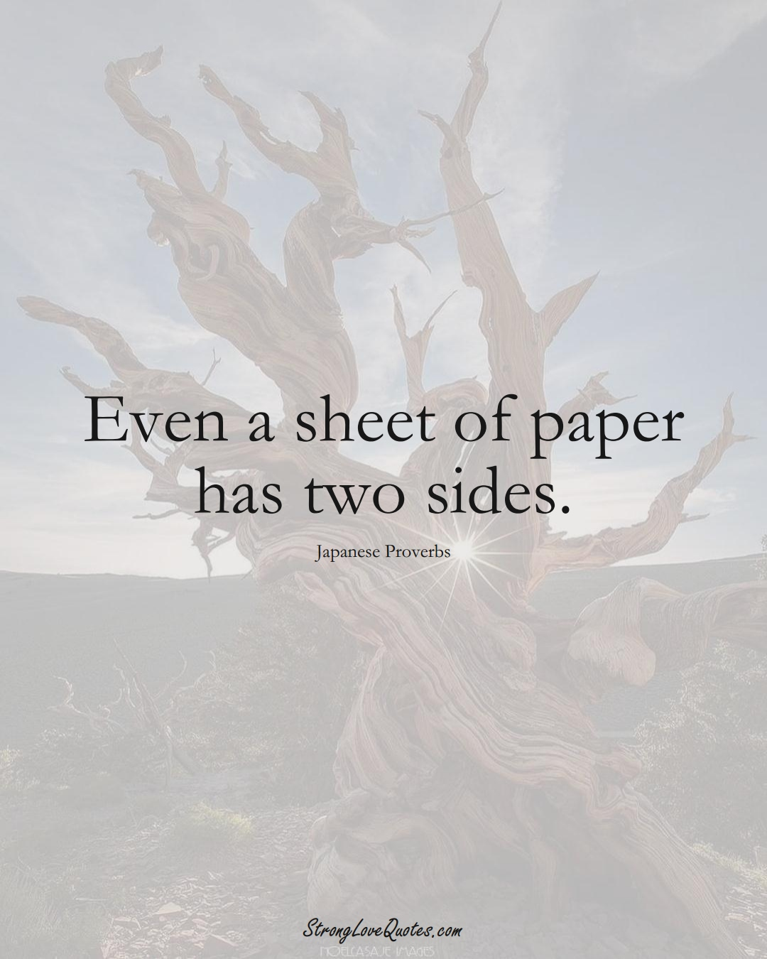 Even a sheet of paper has two sides. (Japanese Sayings);  #AsianSayings