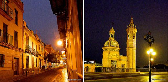 Rua de Triana e a Capela del Cármen, na Ponte de Triana, em Sevilha