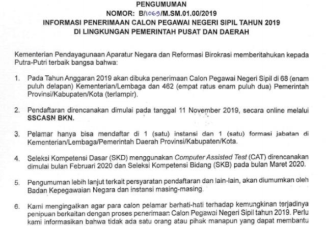 INFORMASI PENERIMAAN CALON PEGAWAI NEGERI SIPIL TAHUN 2019 DI LINGKUNGAN PEMERINTAH PUSAT DAN DAERAH