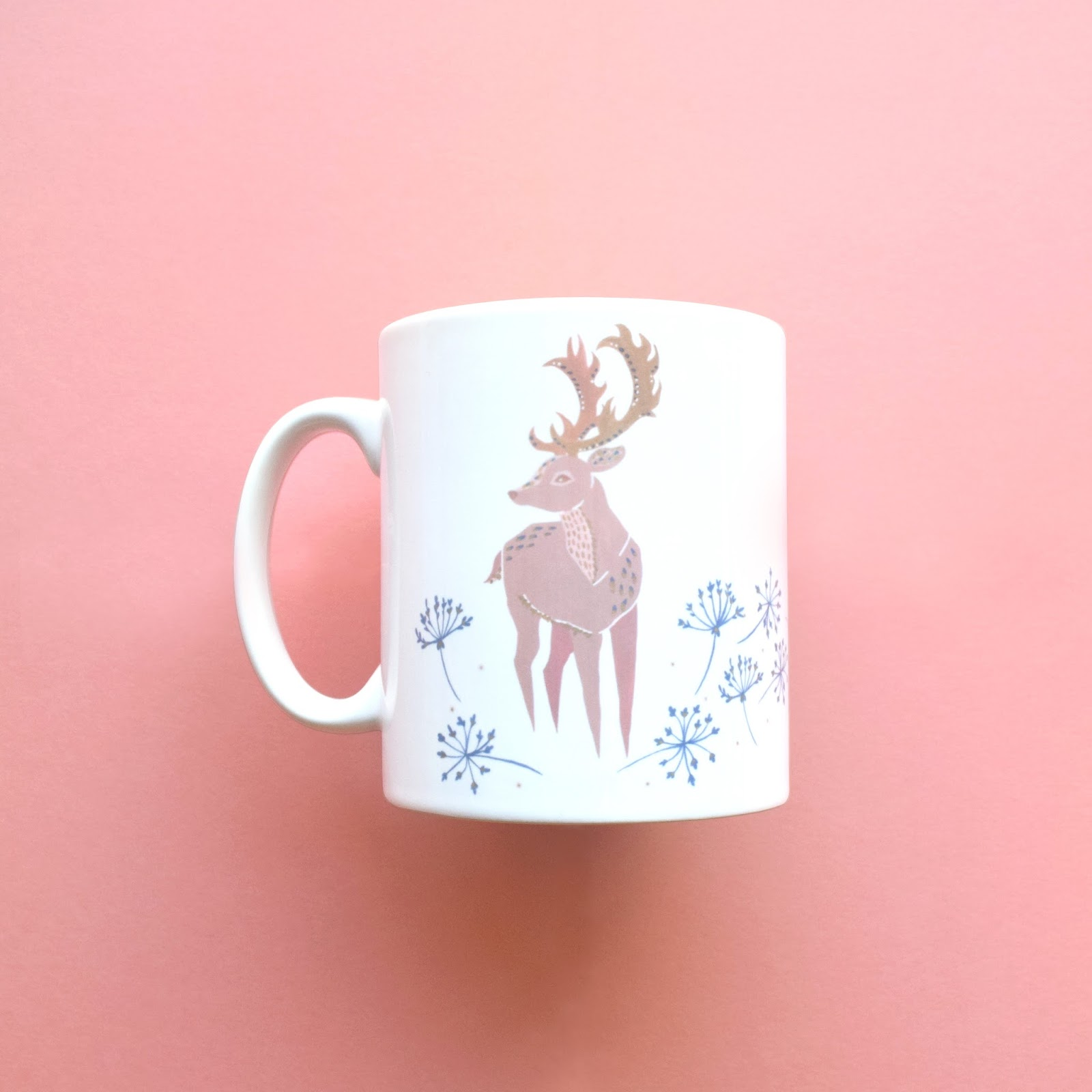 mug with a illustrated deer