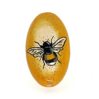 Honey bee wooden hand painted bead