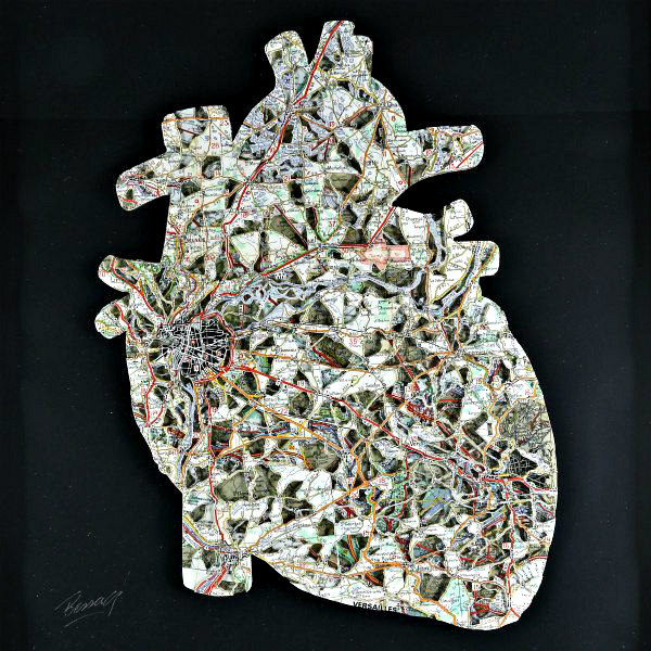 paper cut Michelin map anatomical heart