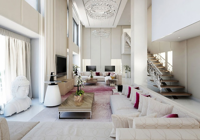Decorating Ideas For Living Rooms With High Ceilings And White Themed
