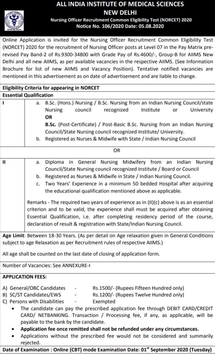 Nursing Officer Recruitment Common Eligibility Test (NORCET) 2020,Nursing Officer Jobs (3803 Vacancies) in AIIMS New Delhi,www.aiims.ac.in recruitment  aiims rishikesh recruitment 2020  aiims delhi staff nurse vacancy 2020  aiims delhi pharmacist vacancy 2020  aiims jhajjar recruitment 2020  aiims nursing vacancy 2020  aiims recruitment for lab technician  aiims delhi recruitment for staff nurses  aiims, new delhi  aiims jhajjar recruitment 2019  aiims recruitment jodhpur  aiims gorakhpur recruitment 2019,aiims delhi recruitment for staff nurses  aiims login  aiims recruitment rishikesh  aiims exam  aiims delhi sr recruitment  aiims group a b c recruitment  aiims faculty recruitment  aiims staff nurse vacancy 2020  aiims jodhpur  aiims hospital  aiims jhajjar recruitment 2020  aiims hospital delhi address