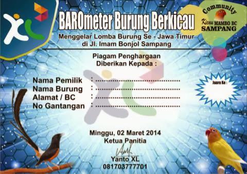 perihal gosip resmi yang tiba dari Komunitas Kicau Mambo BC Sampang untuk  Lomba Burung Sampang 2 Maret 2014