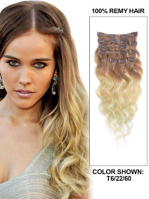 16 Inch Fancy Body Wave Clip In Hair Extensions Three Tone Ombre 9 Pieces