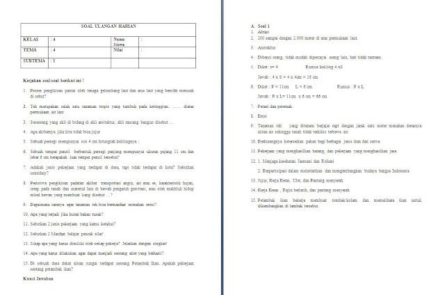 Soal Harian Kelas 4 SD/MI: Tema 4