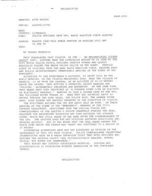 Police Officers Spot UFO - Rapd Reaction Force Alerted 6-26-1996