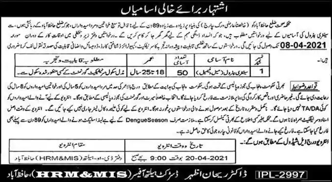 New Jobs in Health Department Hafizabad Jobs 2021