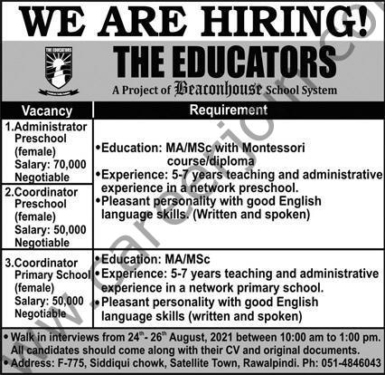 The Educators Jobs August 2021