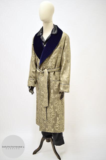 herren luxus hausmantel exklusiver morgenmantel englischer stil klassisch elegant edel baumwolle samt seide paisley