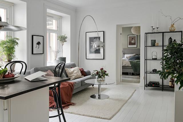 Amenajare scandinavă într-un apartament tip vagon de numai 47 m²