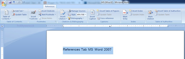 References Tab MS Word