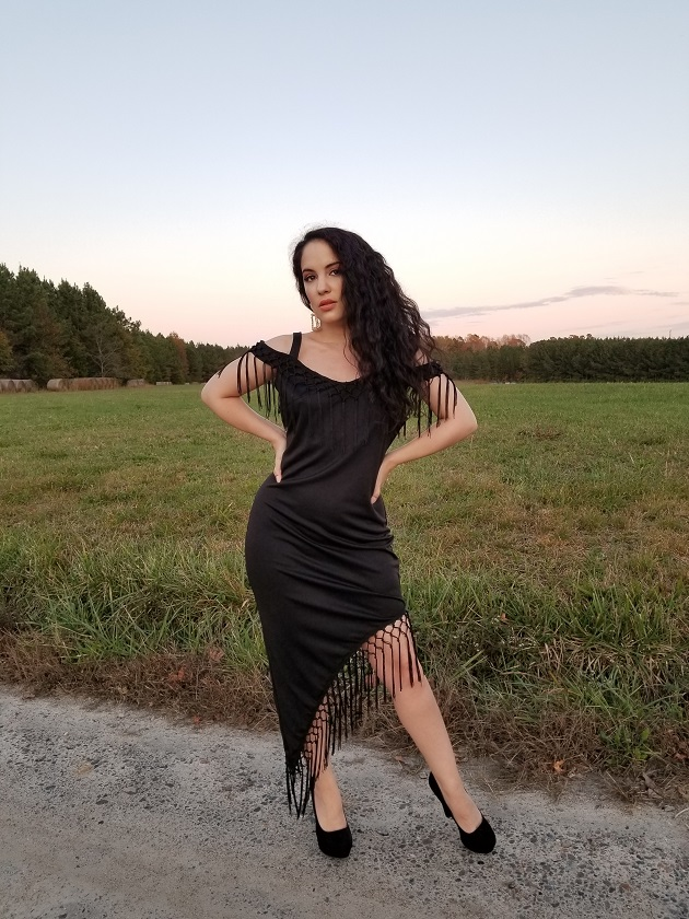 Rosewe Black Fringe Dress