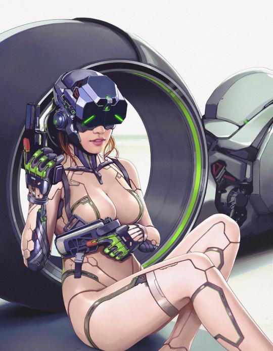 Cyber Biker Babe by Yulin Li