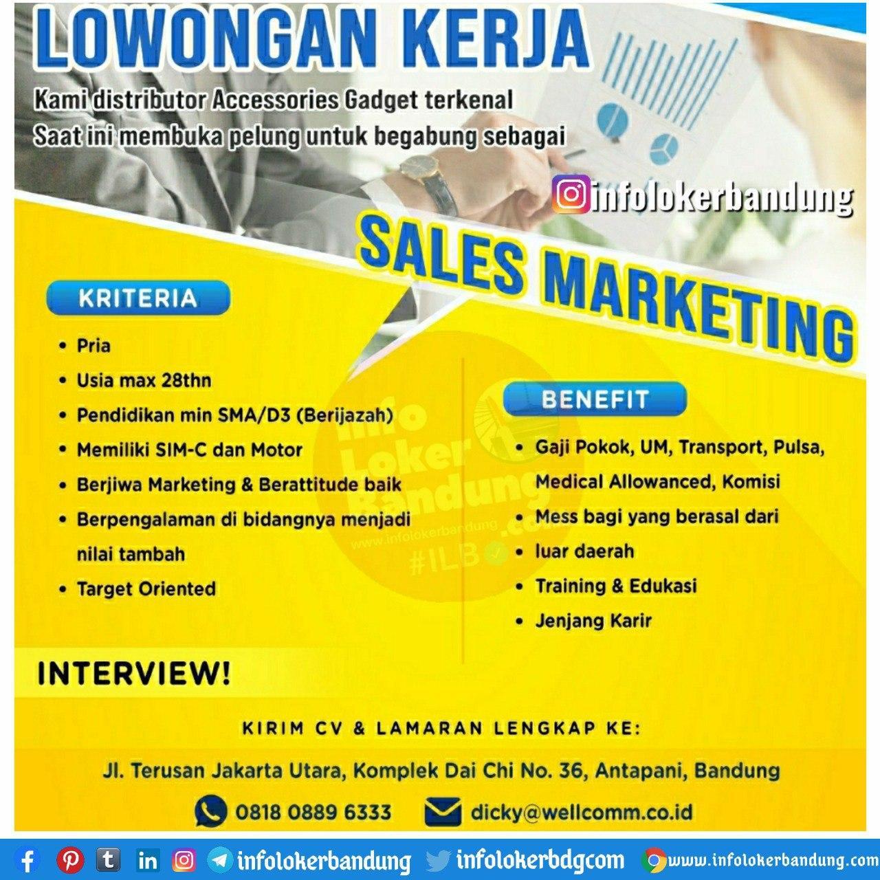 Lowongan Kerja CV. Bandung Indo Pratama ( Wellcomm ) Bandung Oktober 2020