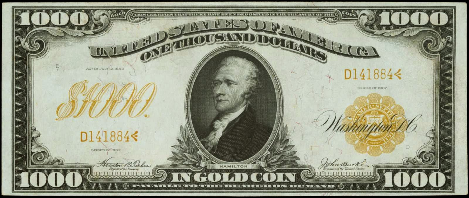 United States paper money One Thousand Dollar Gold Certificate 1907