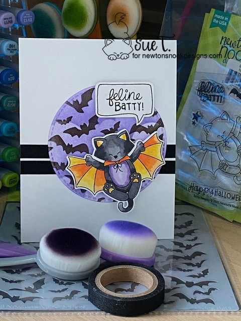 Feline Batty by Sue T. features Batty Newton, Spooky Roundabout, Clouds, and Flying Bats by Newton's Nook Designs; #newtonsnook