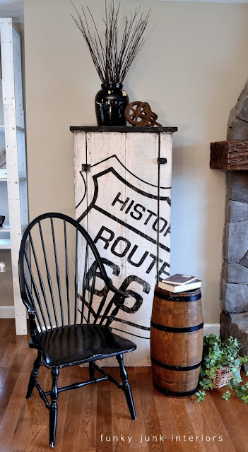My Route 66 old sign cupboard design via https://www.funkyjunkinteriors.net/