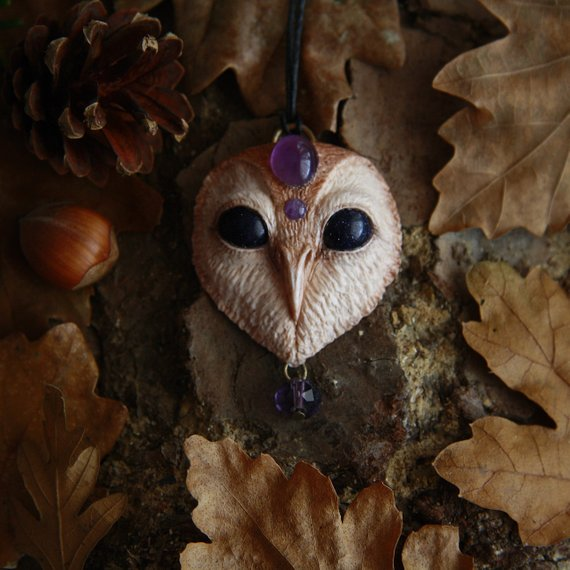 yunocrafts' polymer clay animal pendant owl