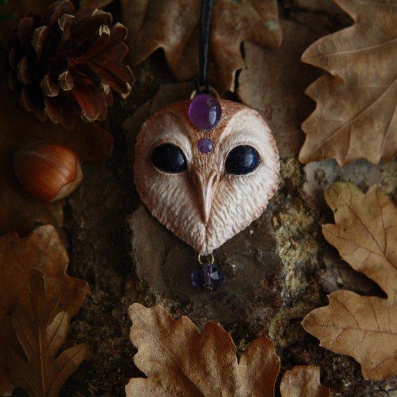 yunocrafts' polymer clay animal pendant owl