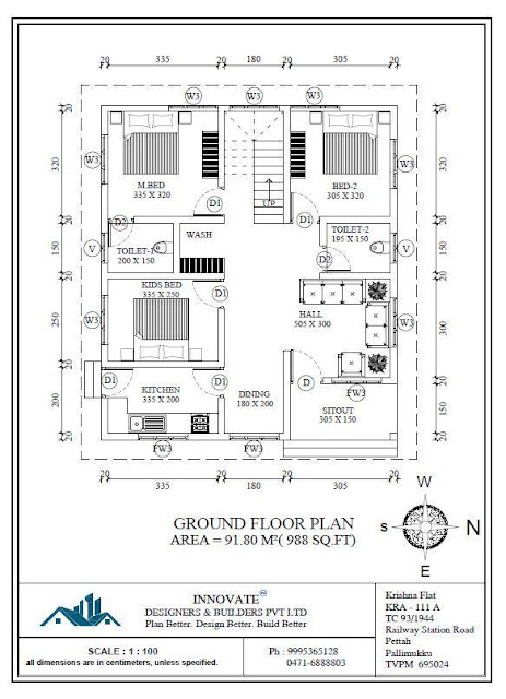 3 bedroom low cost home design in 1073 square feet with for Low cost per square foot house plans
