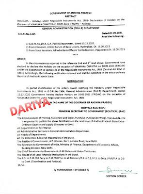 HOLIDAYS Holidays under Negotiable instrume ALL, 1881- Declaration of Holiday on the Occasion of VINAYAKA CHAVITHI on 10.09.2021 (FRIDAY) - Notified.