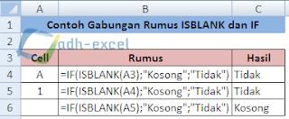 gabungan rumus ISBLANK dan IF Excel