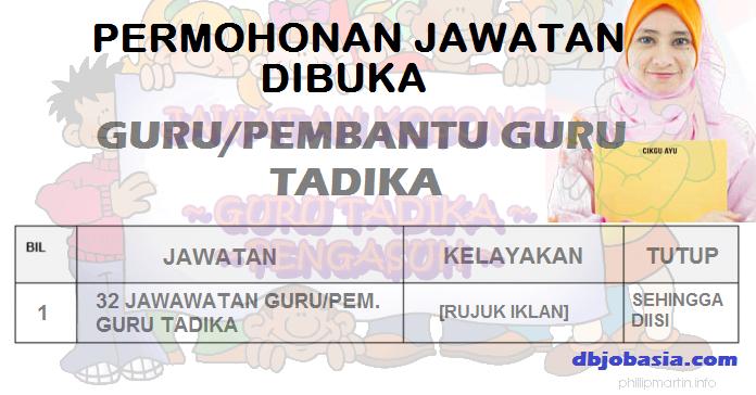 Permohonan 32 Jawatan Guru/Pembantu Guru Tadika Dibuka!
