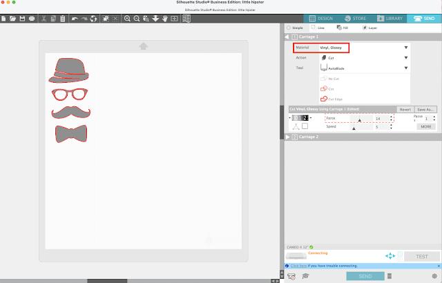 silhouette studio v4, silhouette CAMEO beginners, silhouette cameo beginner tutorials, cut settings, silhouette beginner tutorials