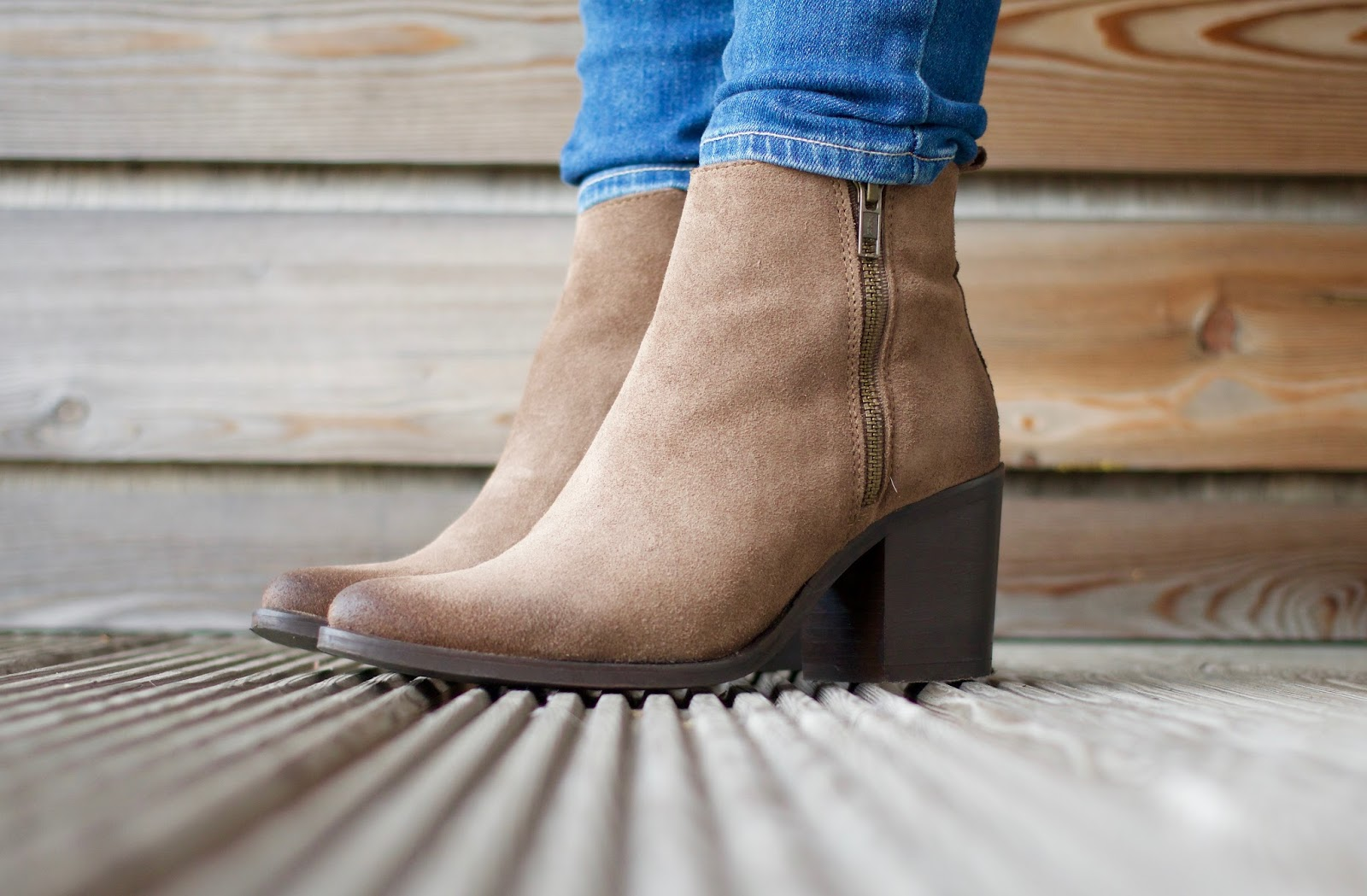 Autumnal wardrobe-Steve Madden Porta suede taupe side zip ankle boots