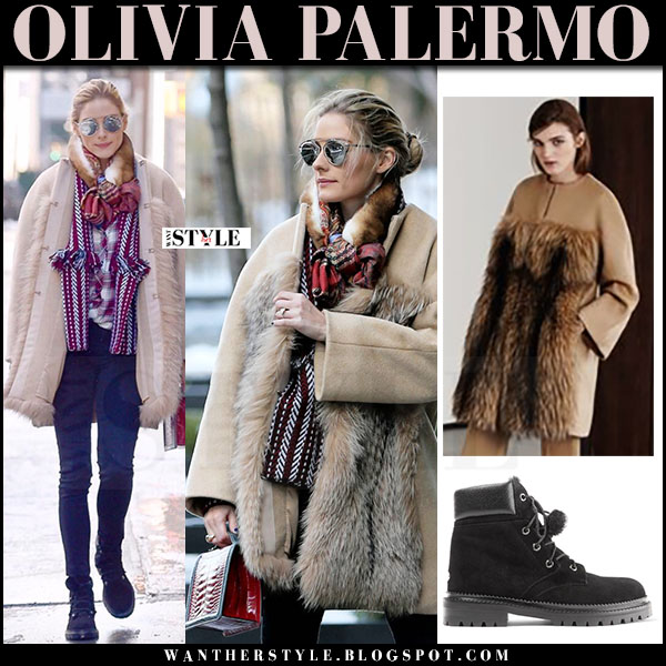 Olivia Palermo in camel fur coat max mara, skinny jeans, black suede ankle boots jimmy choo elba and silver dior so real sunglasses what she wore streetstyle