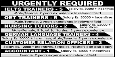 Urgently Required Nursing Tutors,IELTS & OET Trainers - Apply Now
