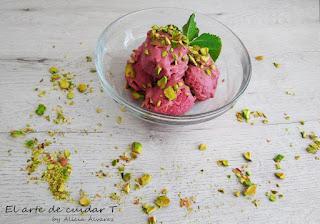 helado casero, frambuesas, sin azúcar, sin lactosa, sin gluten