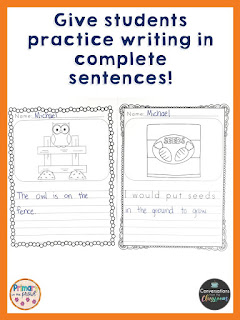 use a picture to practice writing in complete sentences