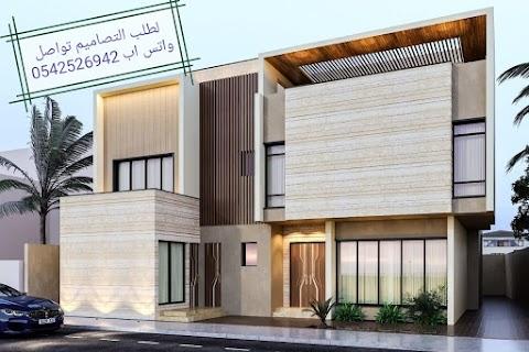 تصميم واجهة فيلا مودرن في السعودية رخام ودهانات جرافيت