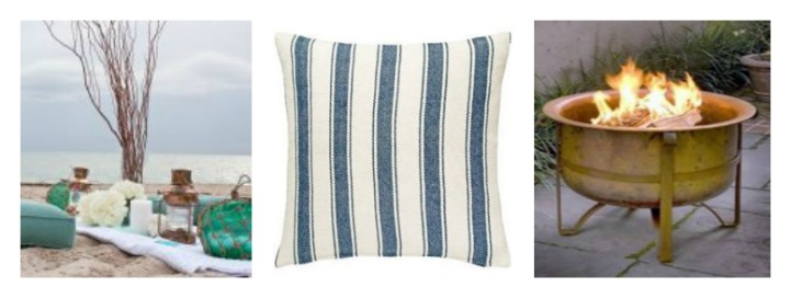Coastal accessories, fire pit, blue and white throw pillows