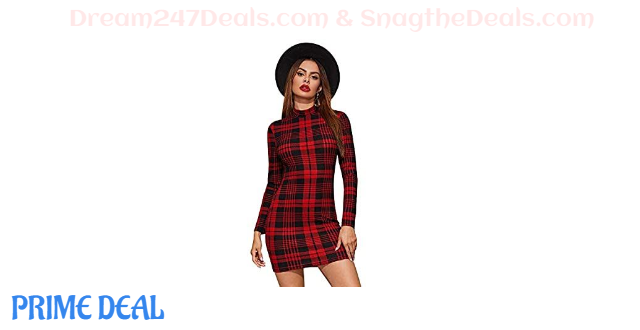 60% OFF  Women's Casual Mock Neck Long Sleeve Plaid Pencil Mini Party Bodycon Dress