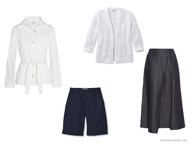 20 ways to wear a white blazer with navy pants in a capsule wardrobe - alternatives to pants