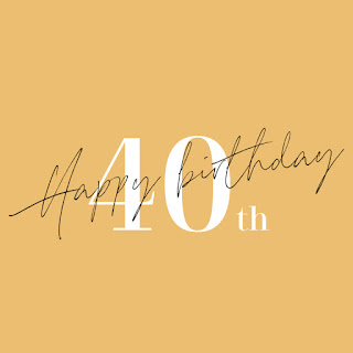 happy birthday written in black handwriting font across 40th printed in white on a mustard background