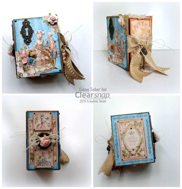 Graphic 45 Gilded Lily ATC Book Box Outside by Dana Tatar for Clearsnap