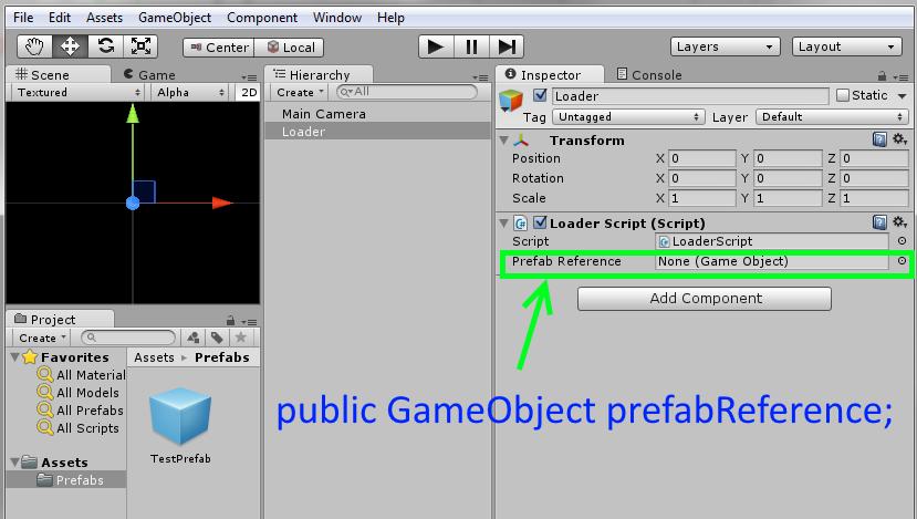 codingtrabla: Unity3D & prefab: instantiate prefab in script (in