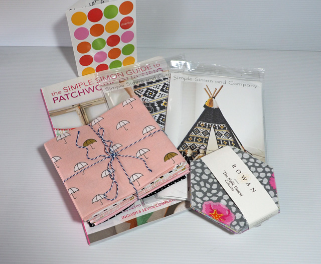 Simple Simon and Co prizes - When Skies are Grey fabric, Guide to Patchwork Quilting.