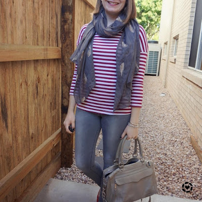 awayfromtheblue Inastagram | SAHM Style spring striped tee with feather embroidered scarf skinny jeans and rebecca minkoff MAM bag
