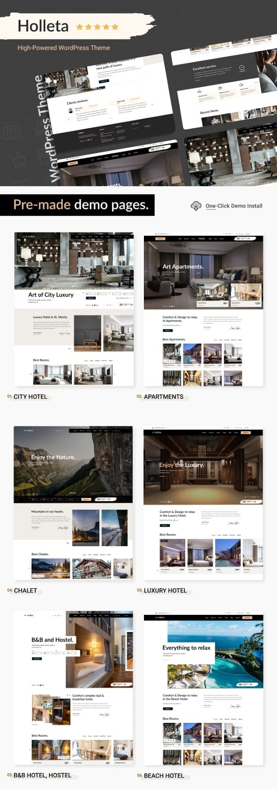 Holleta – Hotel Booking WordPress Theme