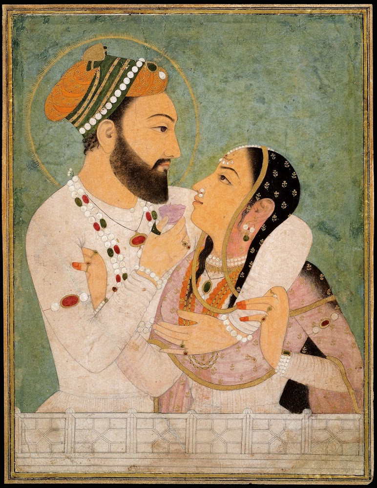 A Prince with his Beloved - Rajput Painting, Early 18th century