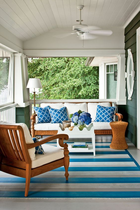 Spring Beach Home Front Porch Inspiration - 10 Ideas ... on Nautical Patio Ideas  id=66885